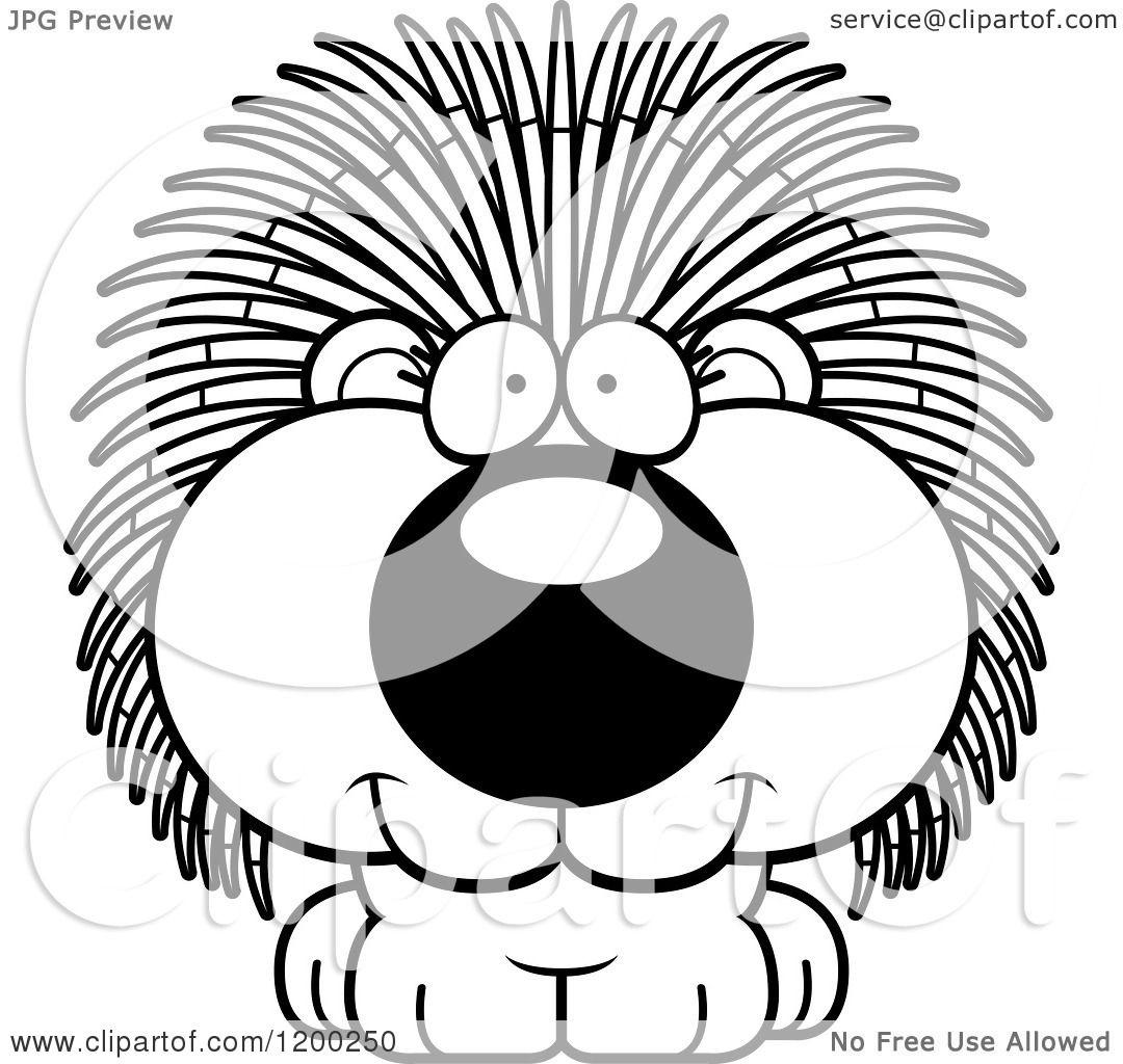 Cartoon Of A Black And White Cute Happy Porcupine