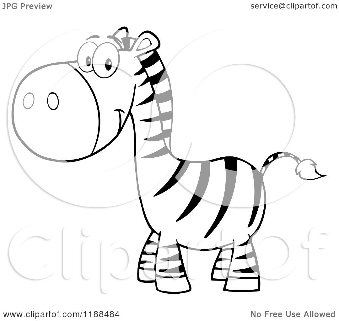 Cartoon Of A Black And White Cute Happy Zebra