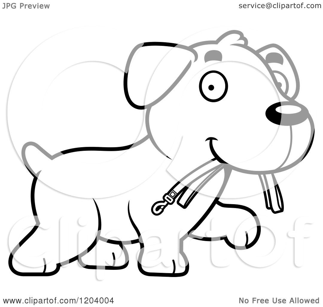 Cartoon Of A Black And White Cute Labrador Puppy Carrying