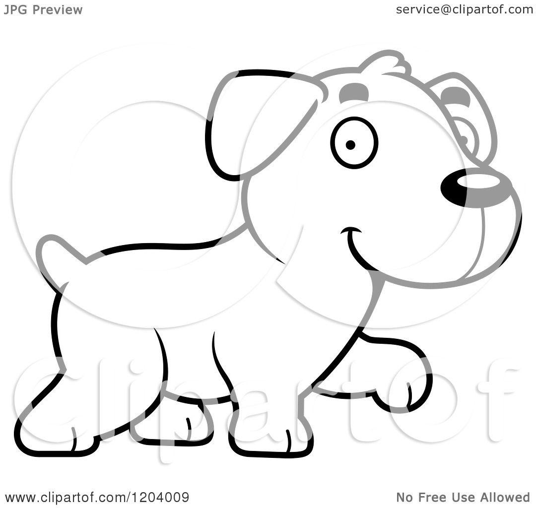 Cartoon Of A Black And White Cute Labrador Puppy Walking