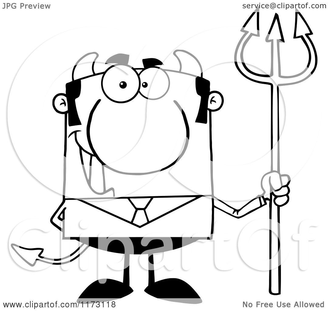 Cartoon Of A Black And White Devil Businessman With A