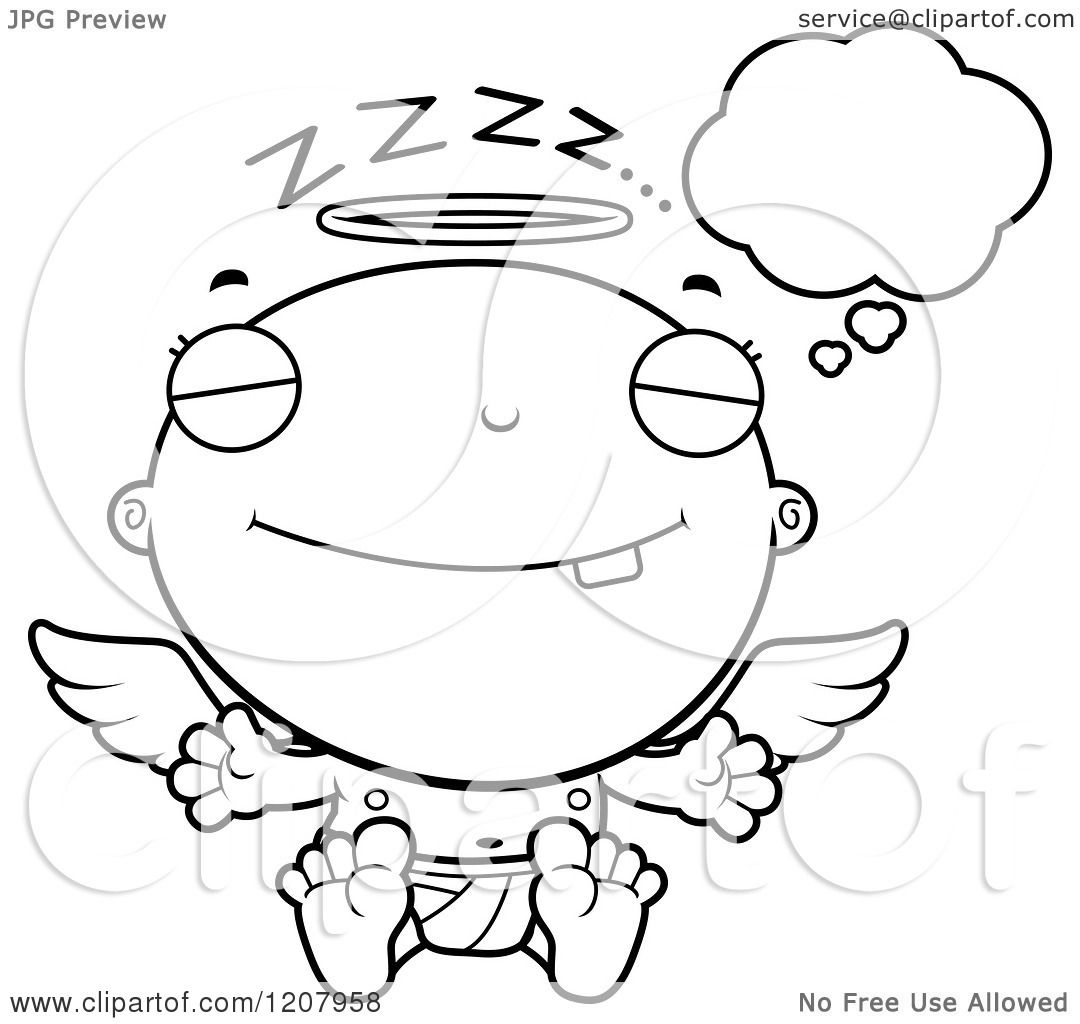 Cartoon Of A Black And White Dreaming Baby Infant Angel