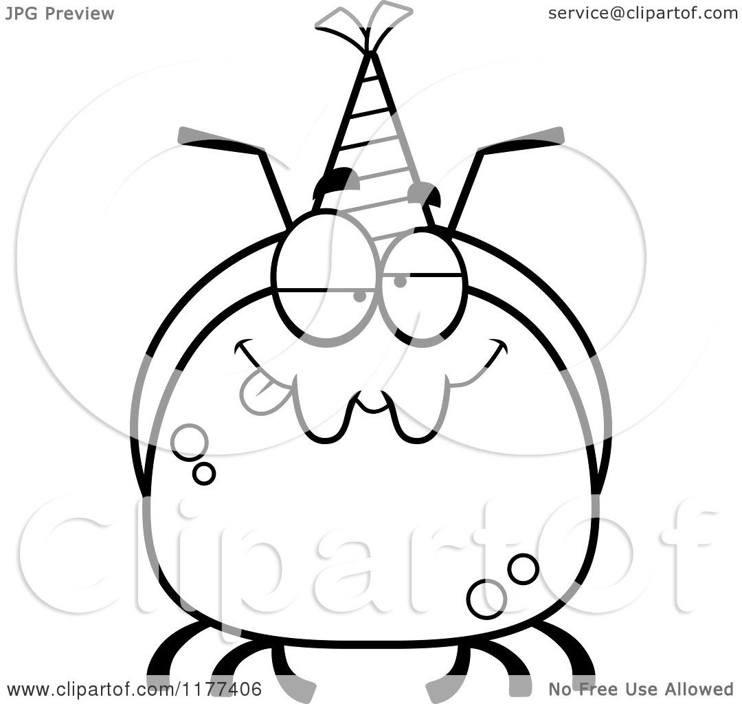 Cartoon Of A Black And White Drunk Birthday Ant Wearing A