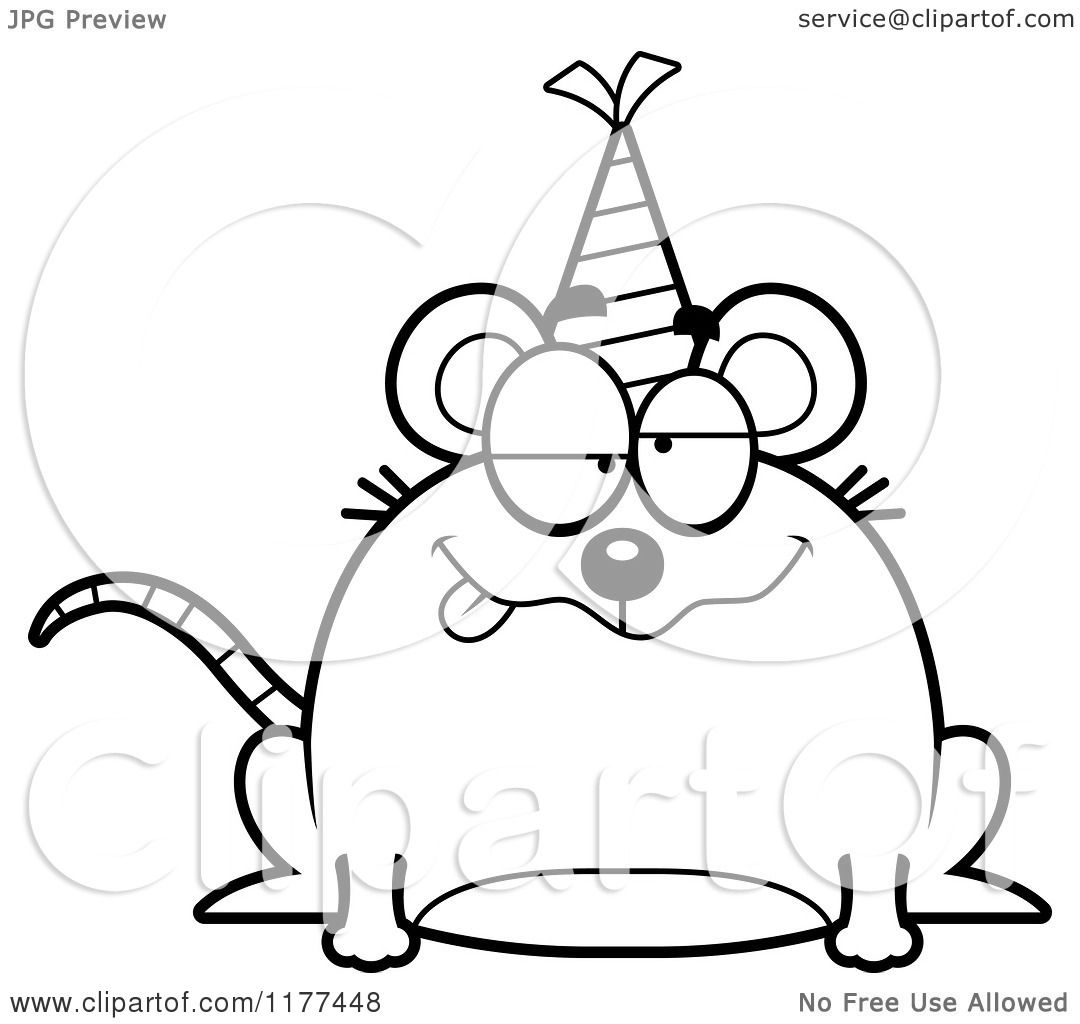 Cartoon Of A Black And White Drunk Birthday Mouse Wearing
