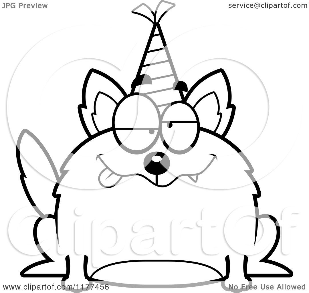 Cartoon Of A Black And White Drunk Birthday Wolf Wearing A