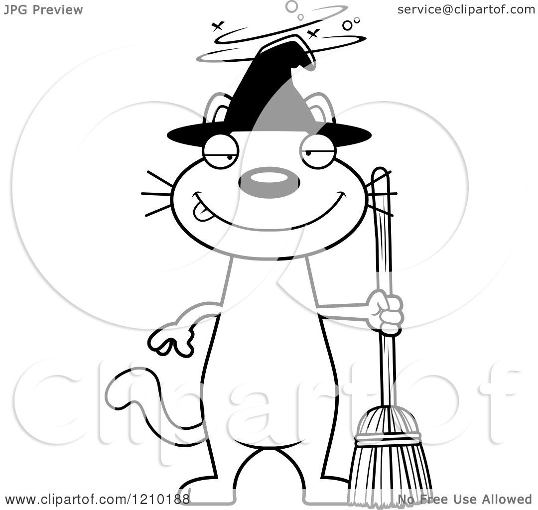 Cartoon Of A Black And White Drunk Halloween Witch Cat