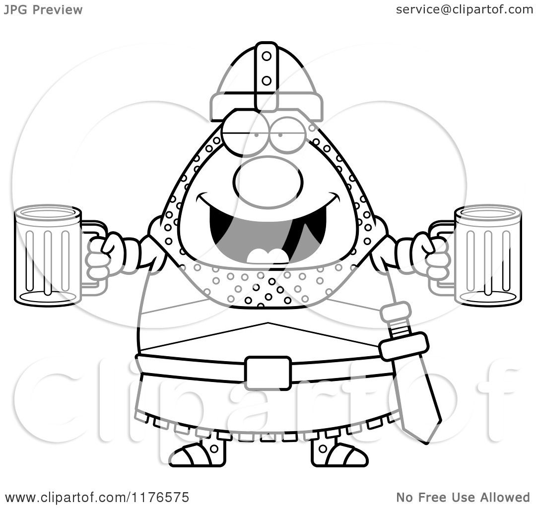 Cartoon Of A Black And White Drunk Knight With Beer