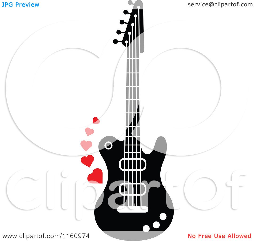 Cartoon Of A Black And White Electric Guitar With Red