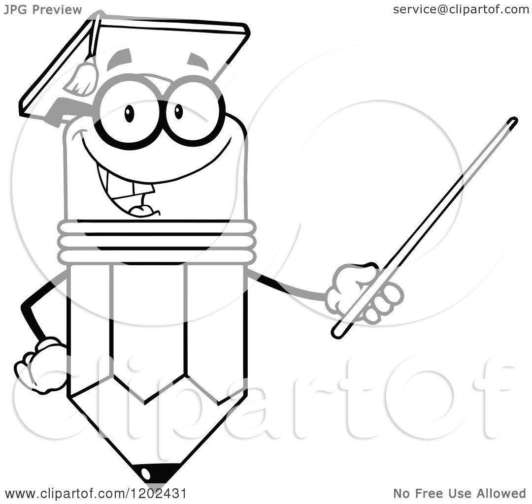 Cartoon Of A Black And White Graduate Pencil Teacher