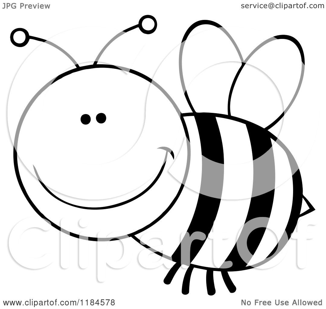 Cartoon Of A Black And White Happy Bee 2