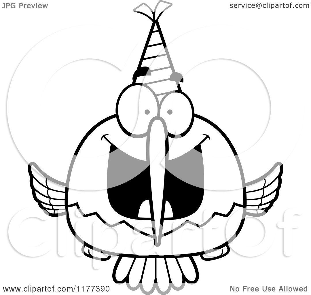 Cartoon Of A Black And White Happy Birthday Hummingbird