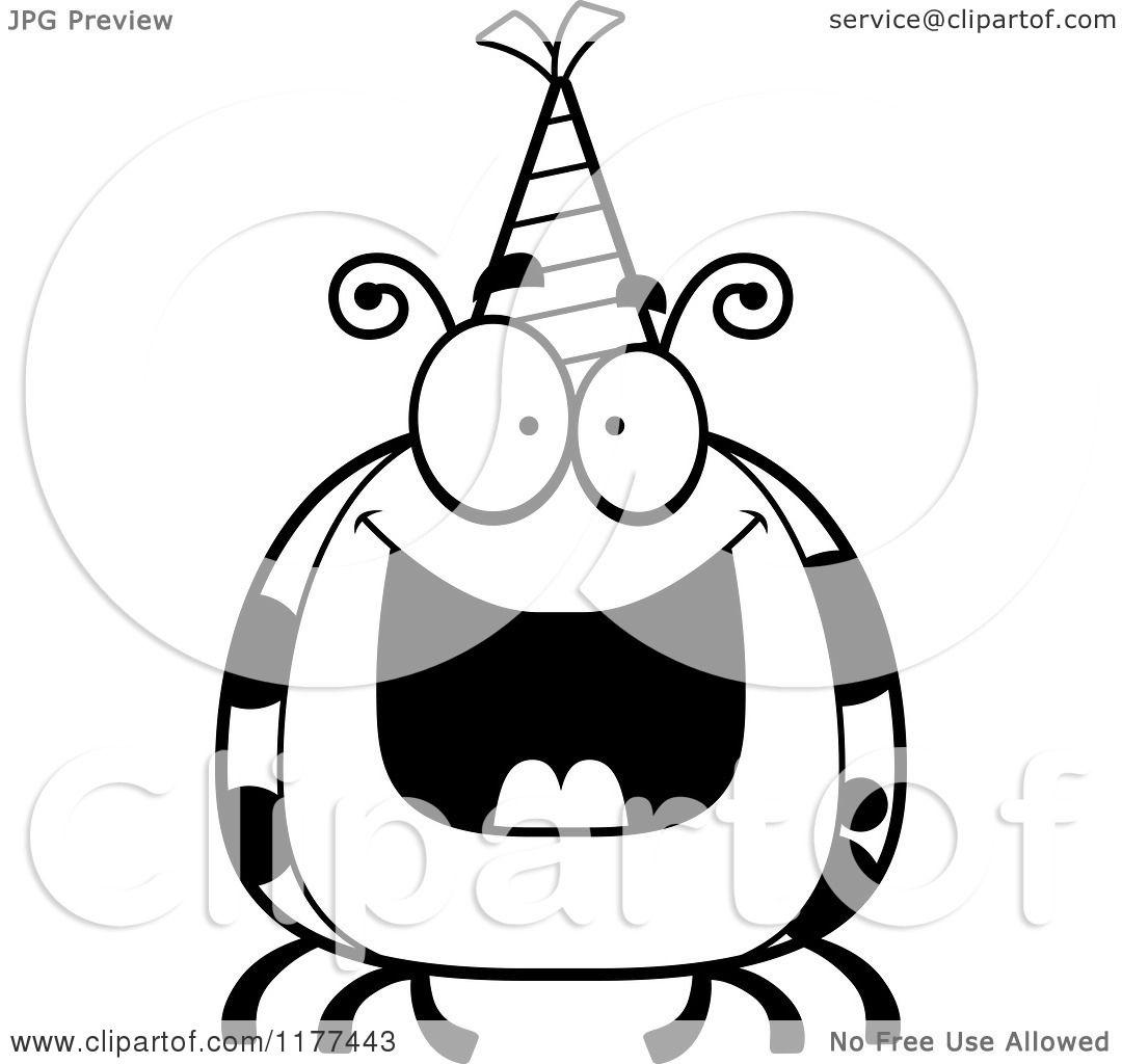 Cartoon Of A Black And White Happy Birthday Ladybug