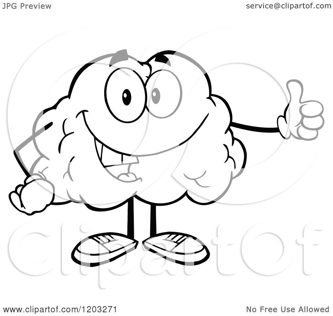 Cartoon Of A Black And White Happy Brain Mascot Holding A