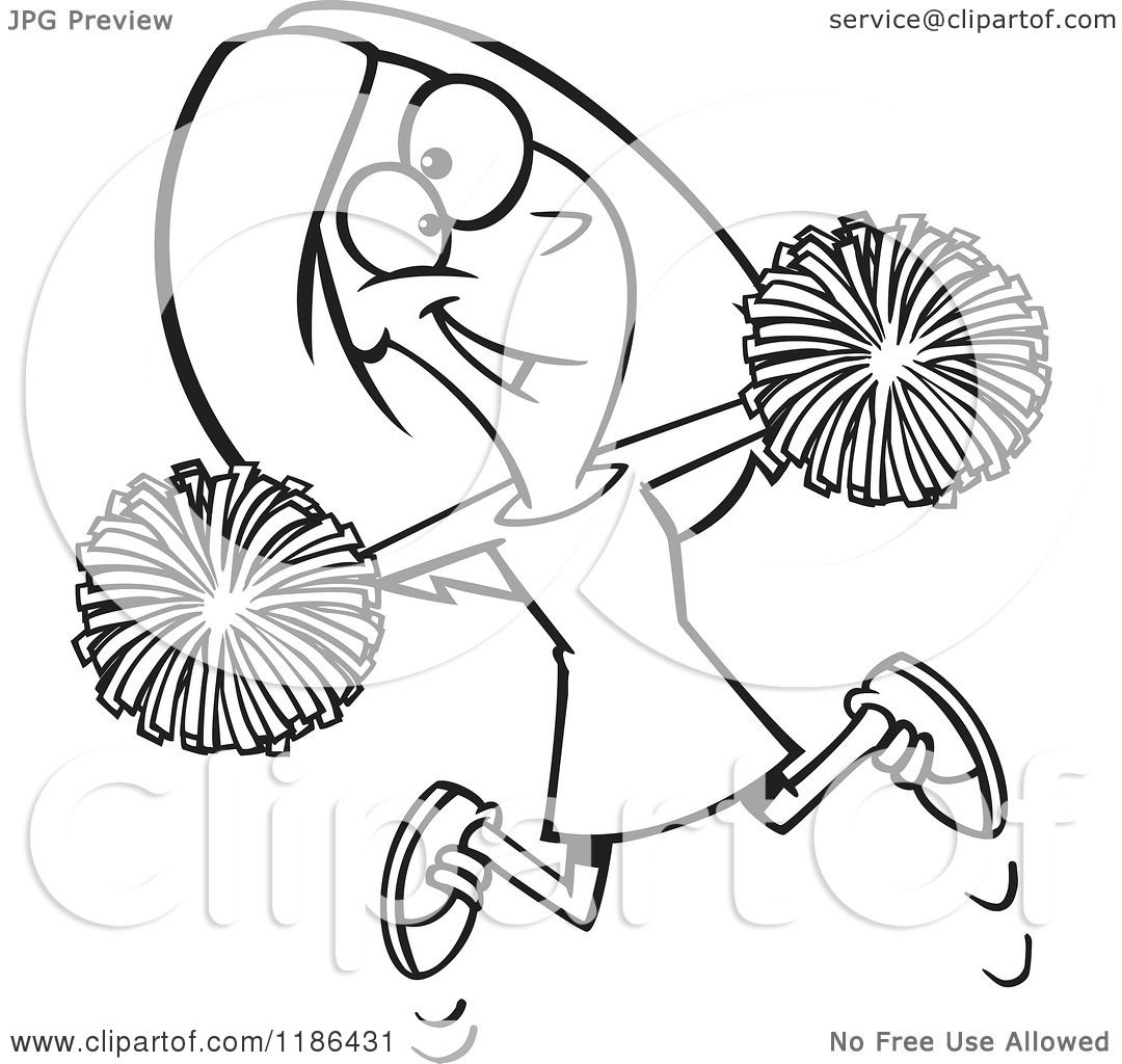 Cartoon Of A Black And White Happy Cheerleader Jumping