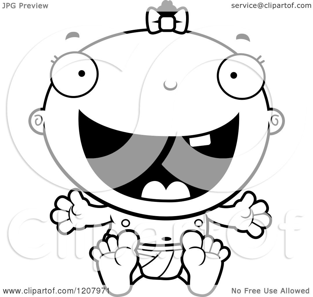 Cartoon Of A Black And White Happy Excited Baby Infant