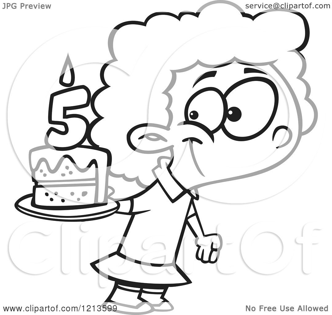 Cartoon Of A Black And White Happy Girl Holding Her Fifth