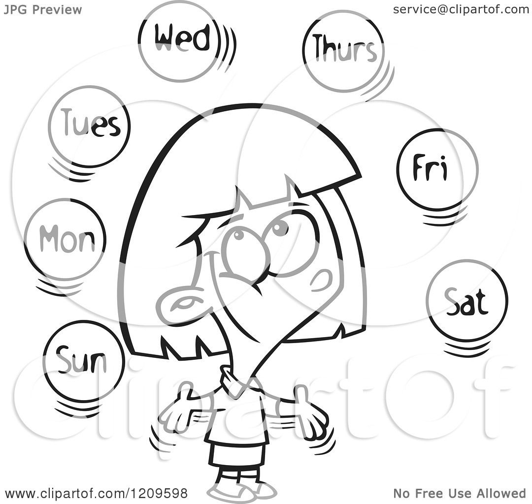 Cartoon Of A Black And White Happy Girl Learning The Days