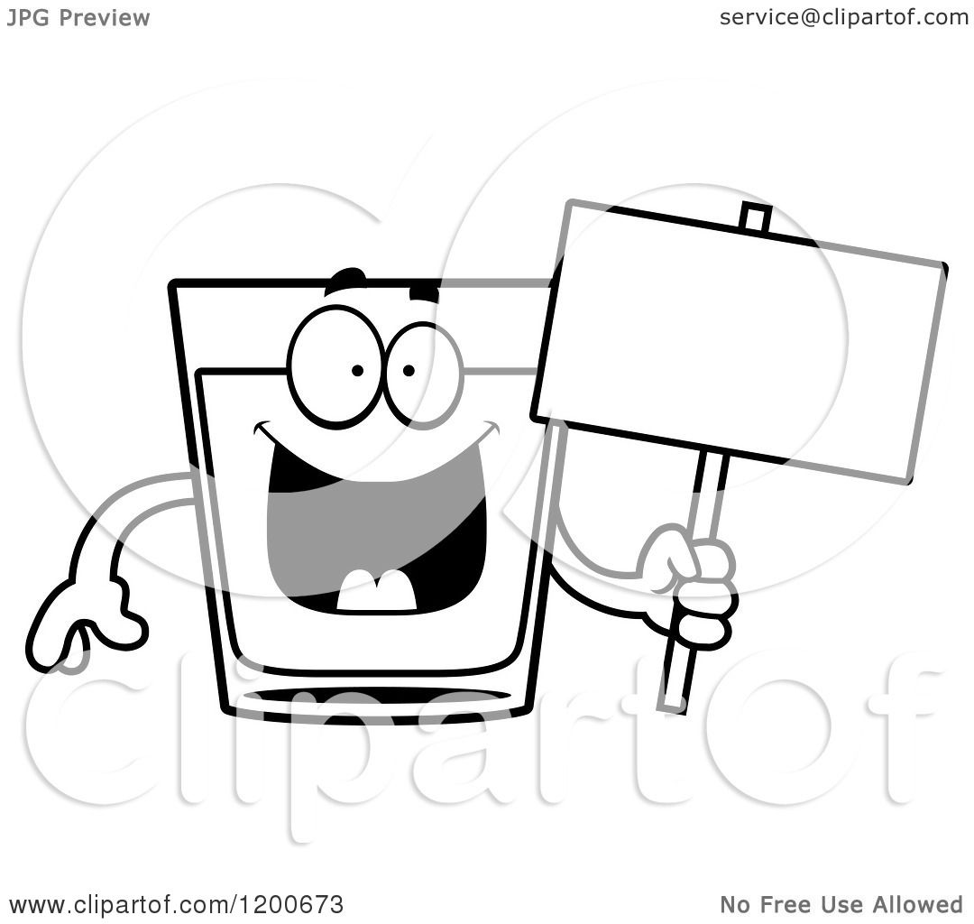 Cartoon Of A Black And White Happy Shot Glass Mascot Holding A Sign