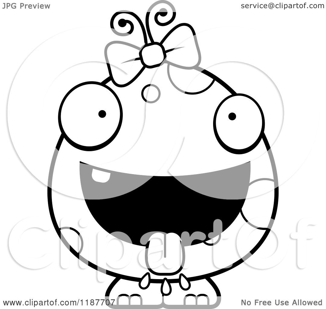 Cartoon Of A Black And White Hungry Female Monster