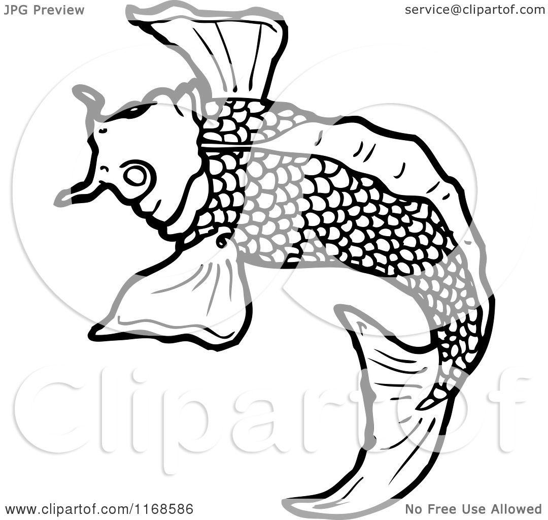 Cartoon Of A Black And White Koi Fish