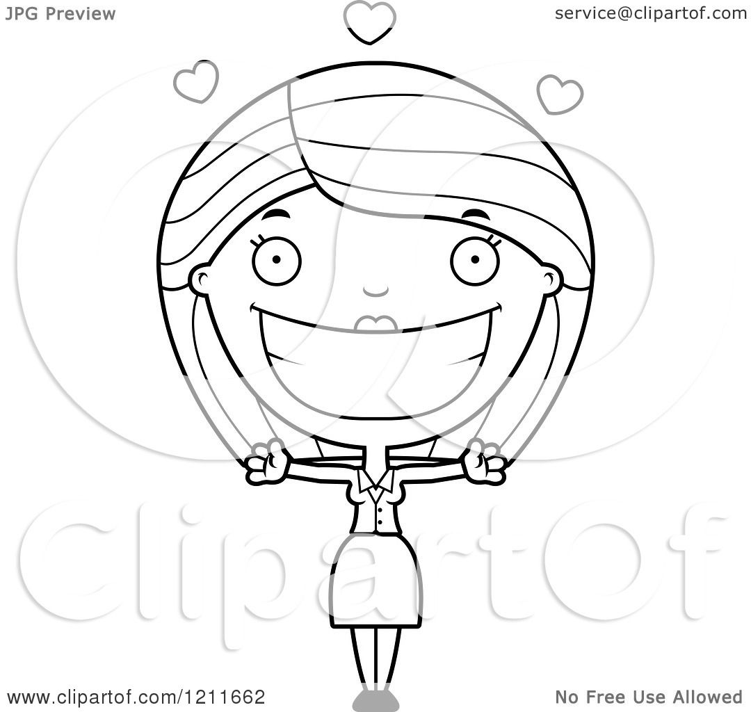 Cartoon Of A Black And White Loving Business Woman Wanting