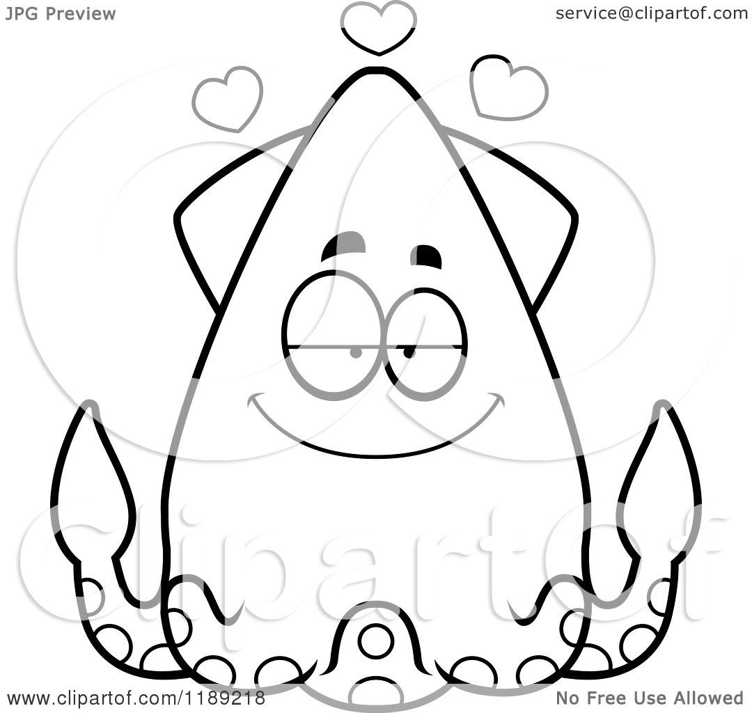 Cartoon Of A Black And White Loving Squid