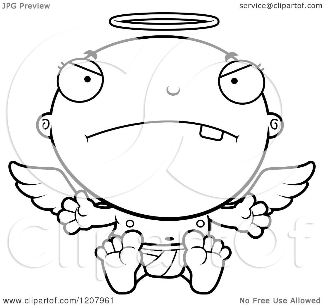 Cartoon Of A Black And White Mad Baby Infant Angel