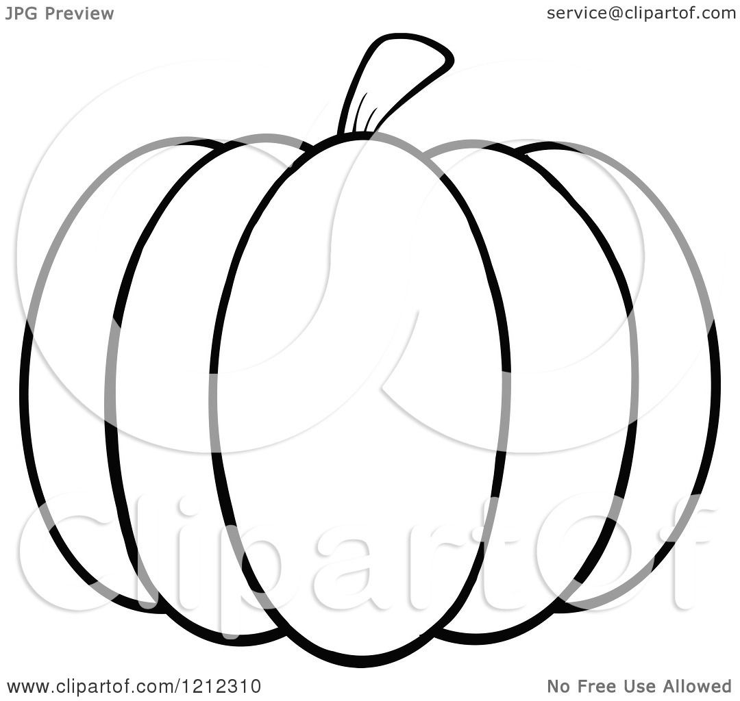 Cartoon Of A Black And White Outlined Pumpkin