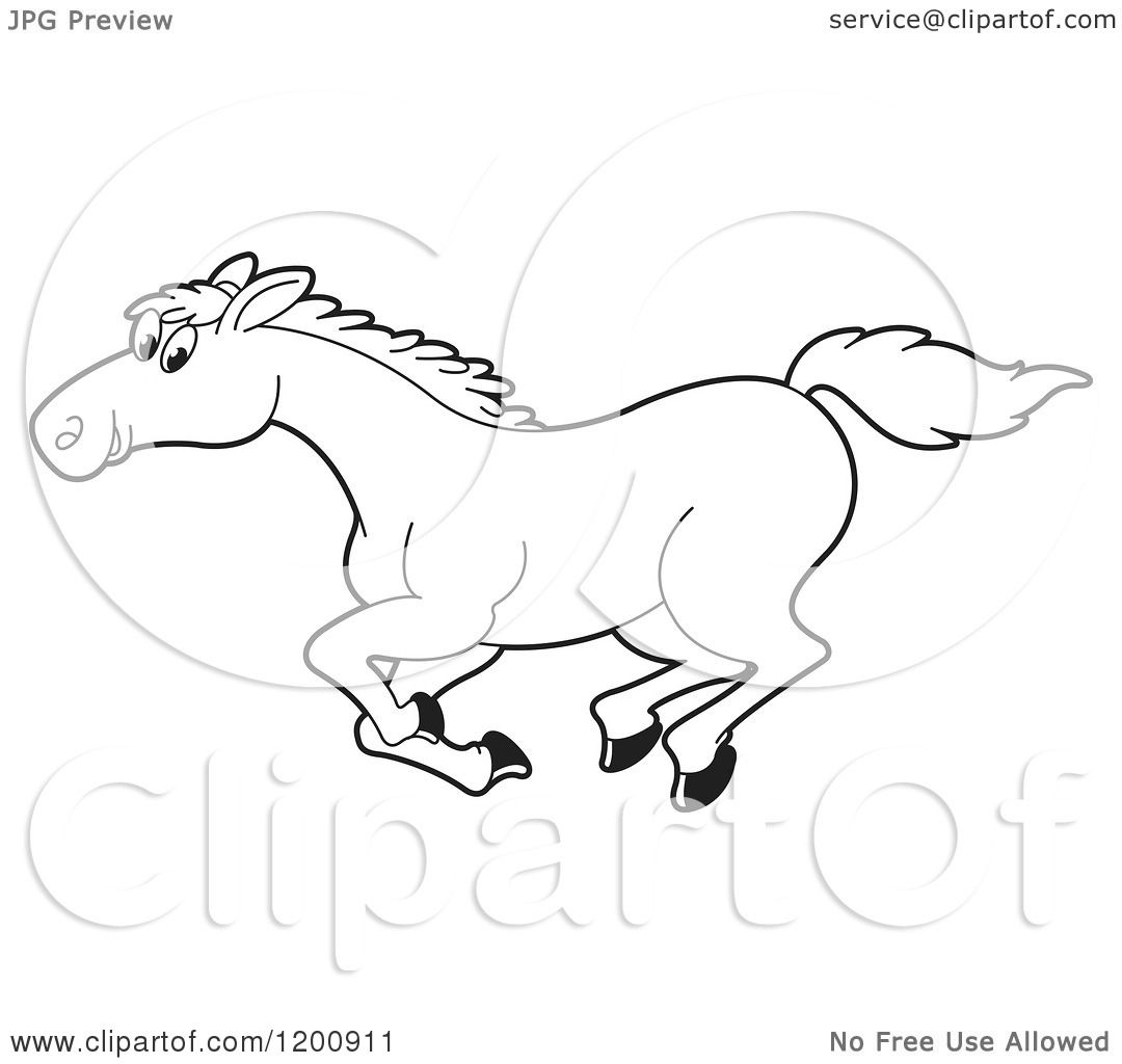 Cartoon Of A Black And White Outlined Running Horse