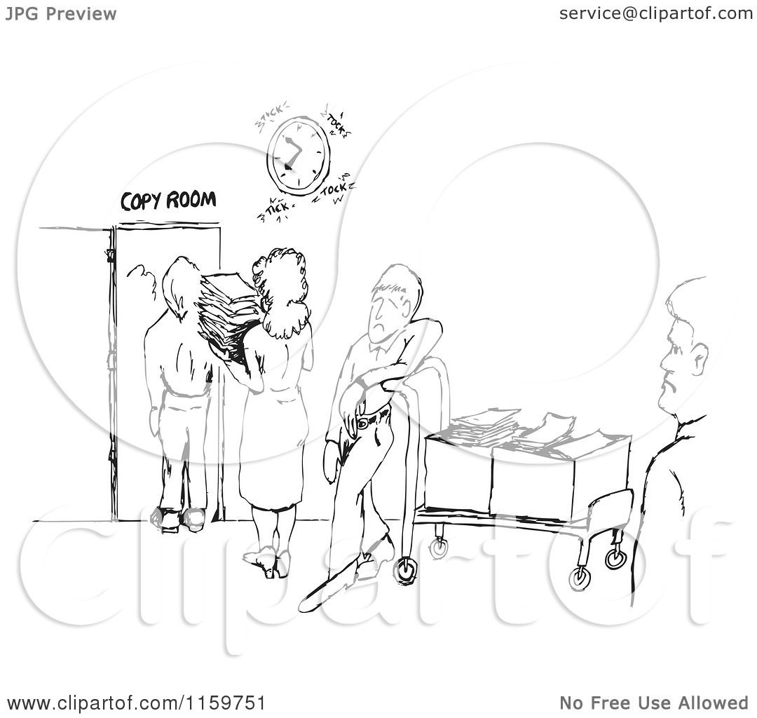 Cartoon Of A Black And White Sketch Of A Line At The Office Copy Room