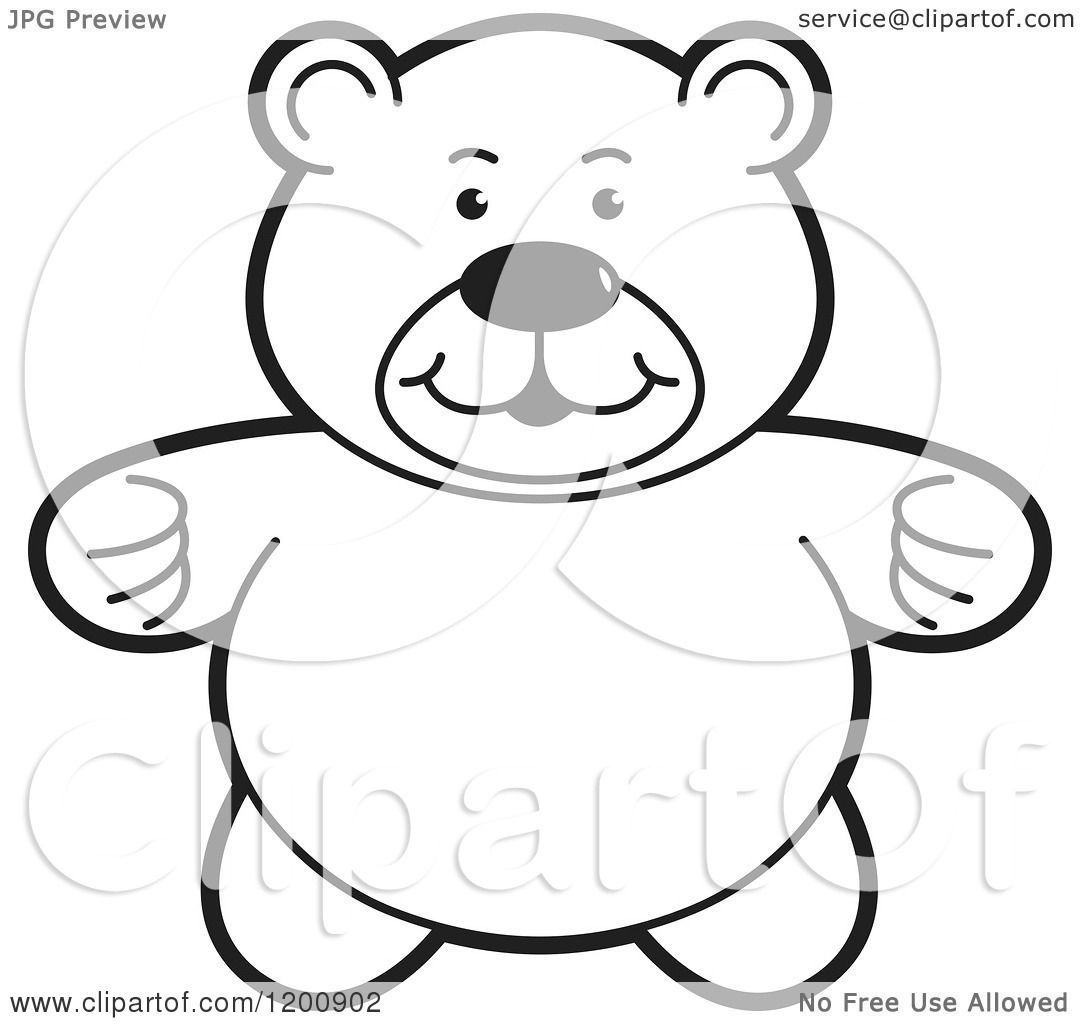 Cartoon Of A Black And White Teddy Bear