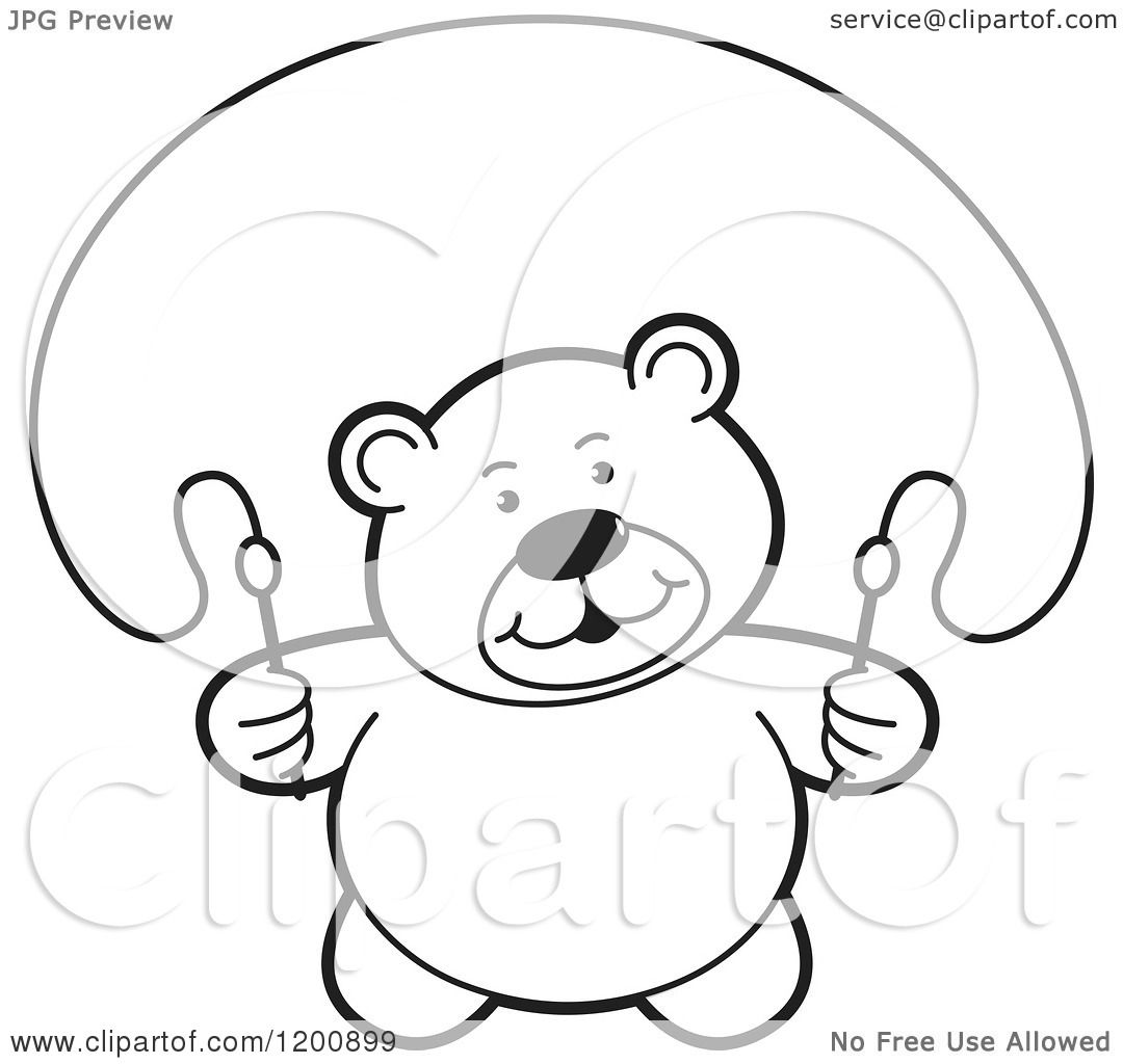Cartoon Of A Black And White Teddy Bear Using A Jump Rope