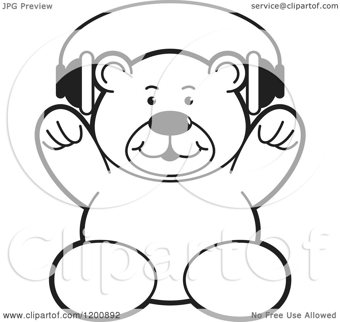 Cartoon Of A Black And White Teddy Bear Wearing Headphones