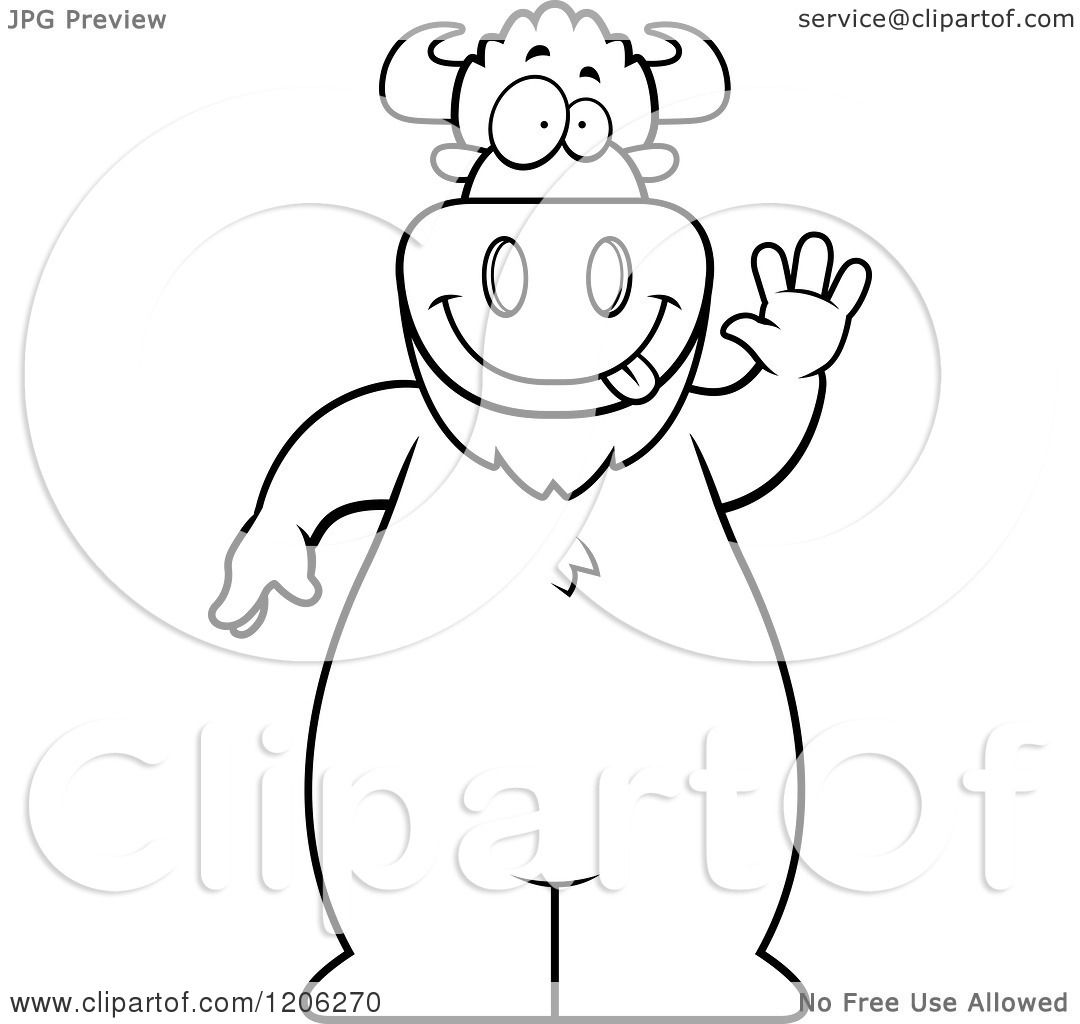 Cartoon Of A Black And White Waving Buffalo