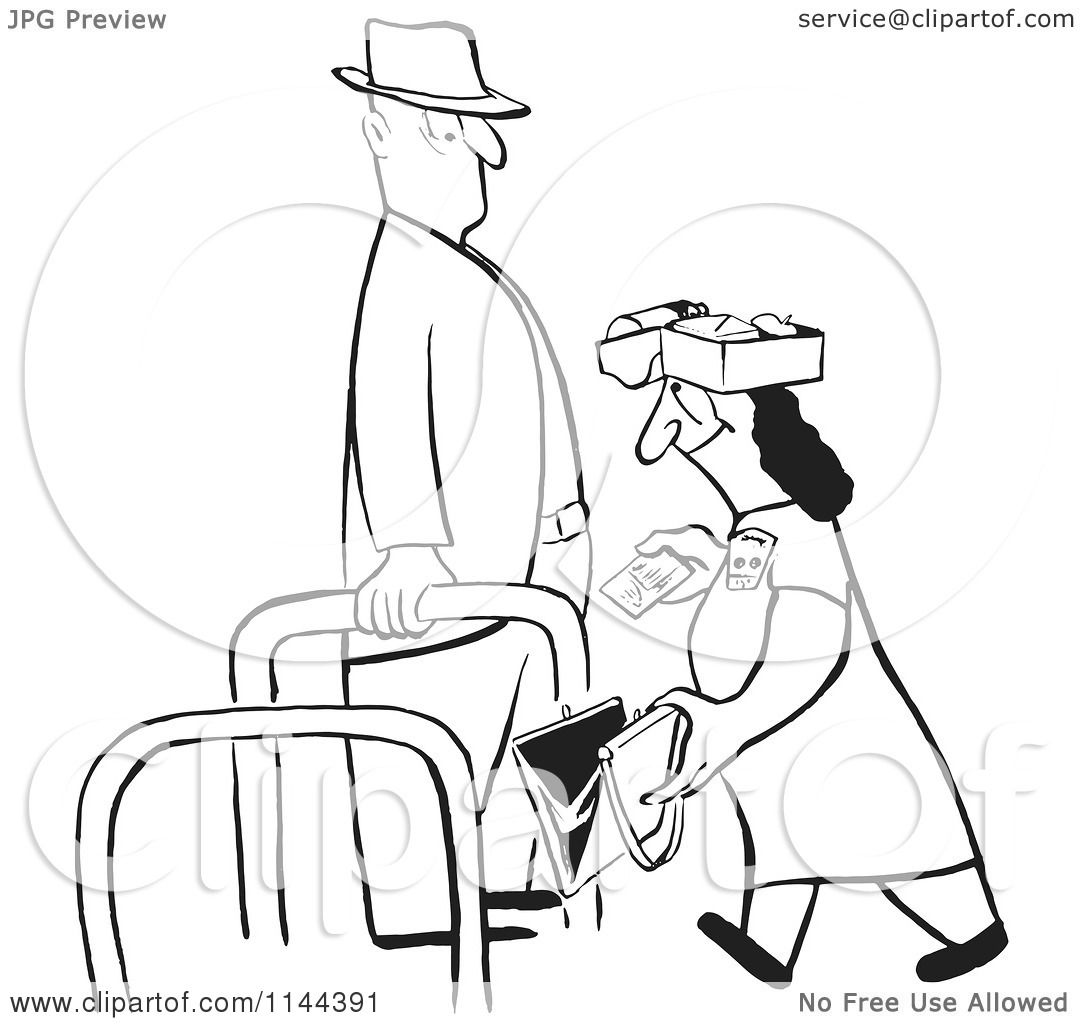 Cartoon Of A Black And White Woman Wearing A Lunch Box On
