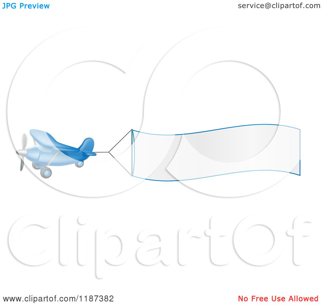 Cartoon Of A Blue Airplane With A Trailing Blank Banner