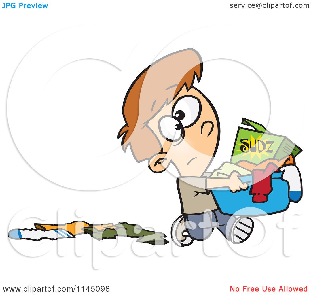 Cartoon Of A Boy Dropping Clothes And Carrying A Laundry
