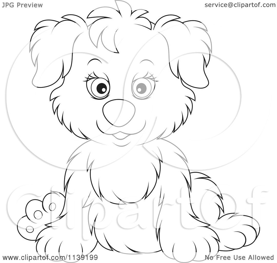 Cartoon Of A Cute Black And White Puppy