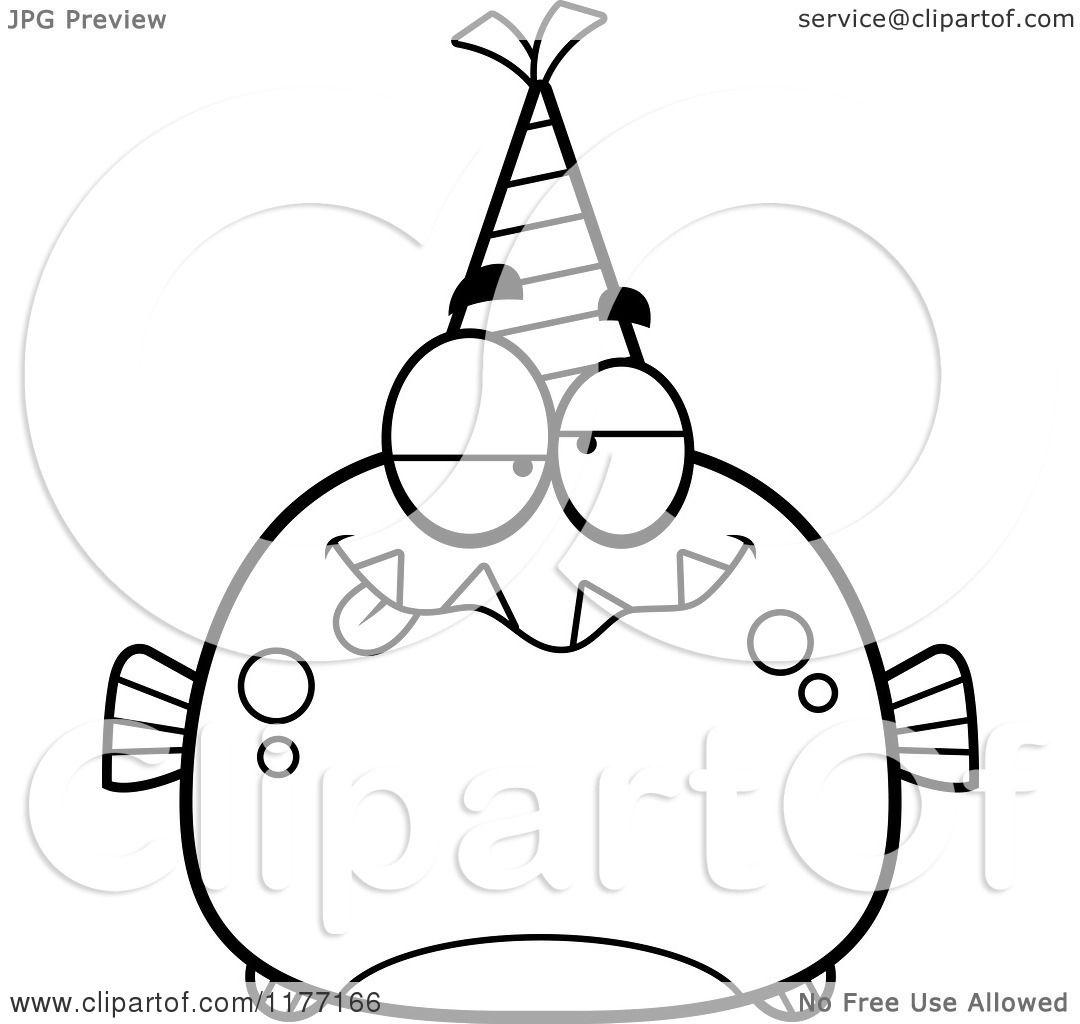 Cartoon Of A Drunk Birthday Piranha Wearing A Party Hat