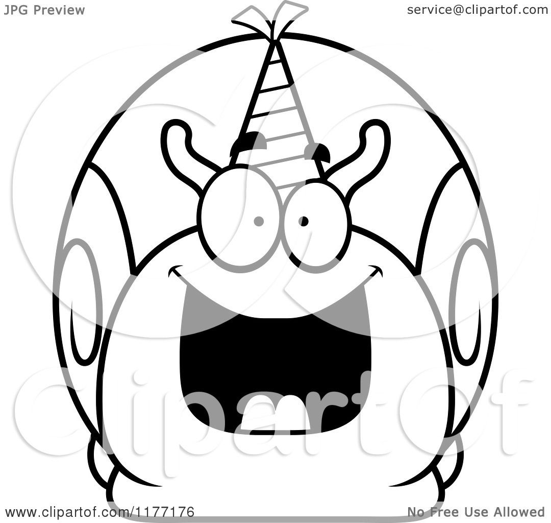 Cartoon Of A Happy Birthday Snail Wearing A Party Hat