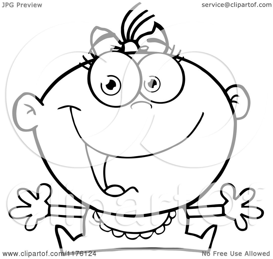 Cartoon Of A Happy Black And White Baby Girl With Open