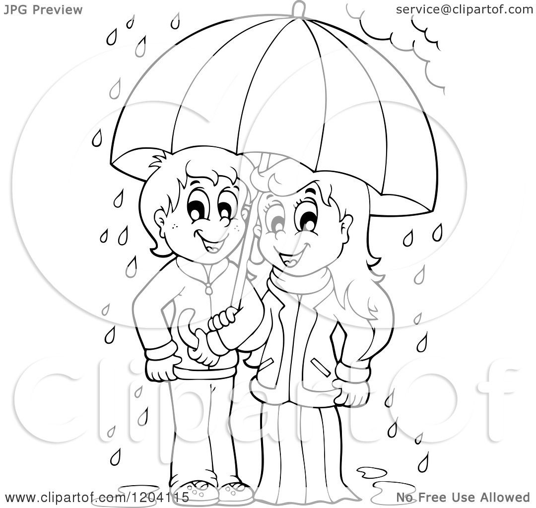 rainy day clipart black and white