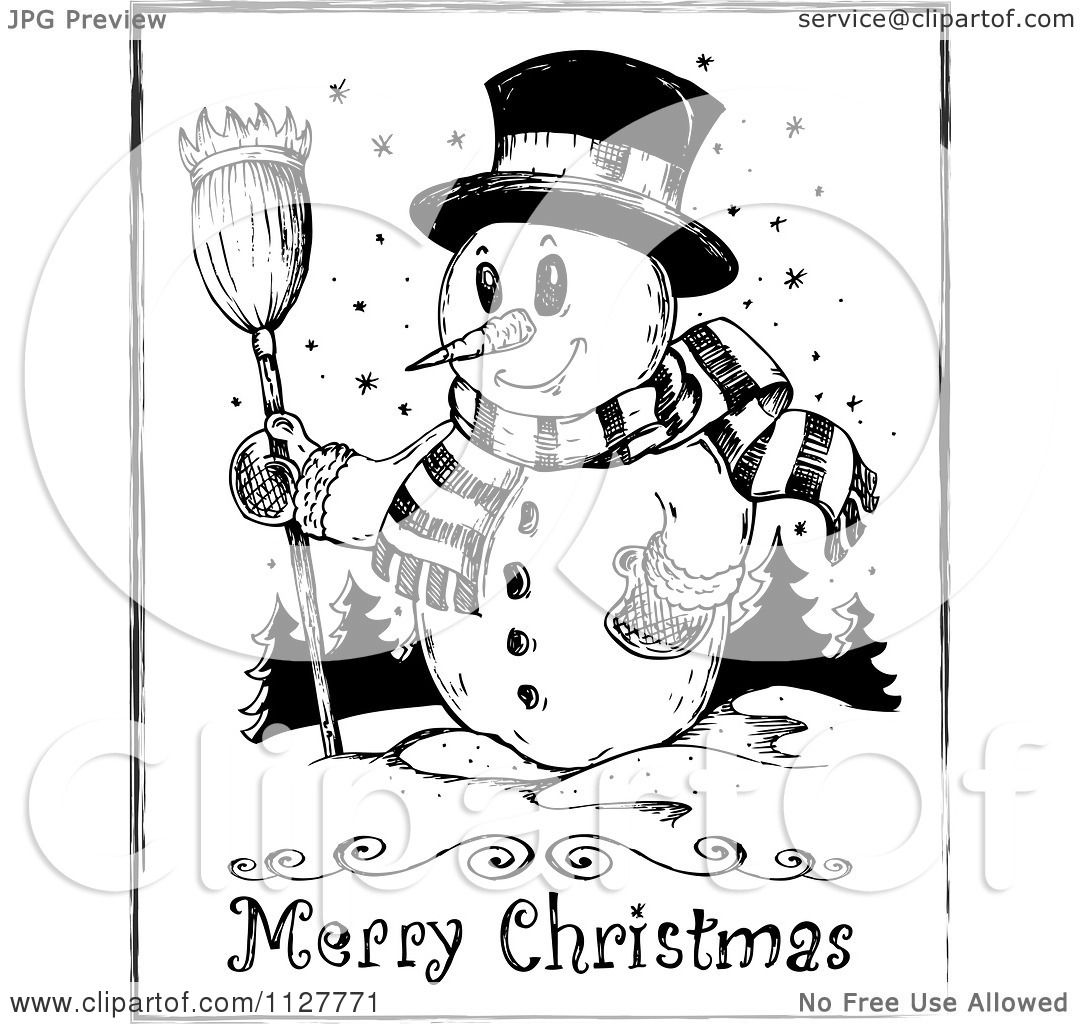 Cartoon Of A Merry Christmas Greeting And Sketched Snowman