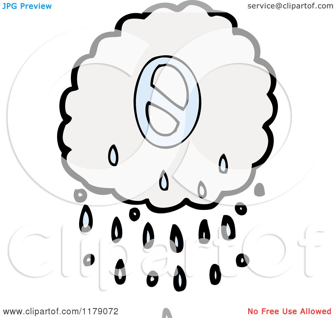 Cartoon Of A Raincloud With The Number 0