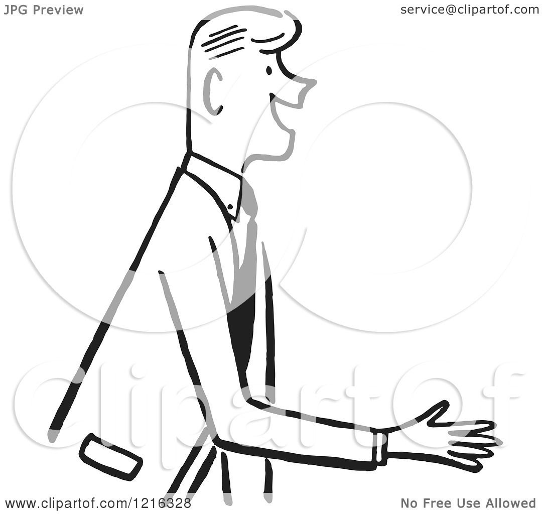 Cartoon Of A Retro Salesman Or Gentleman Reaching Out To Shake Hands During An Introduction In