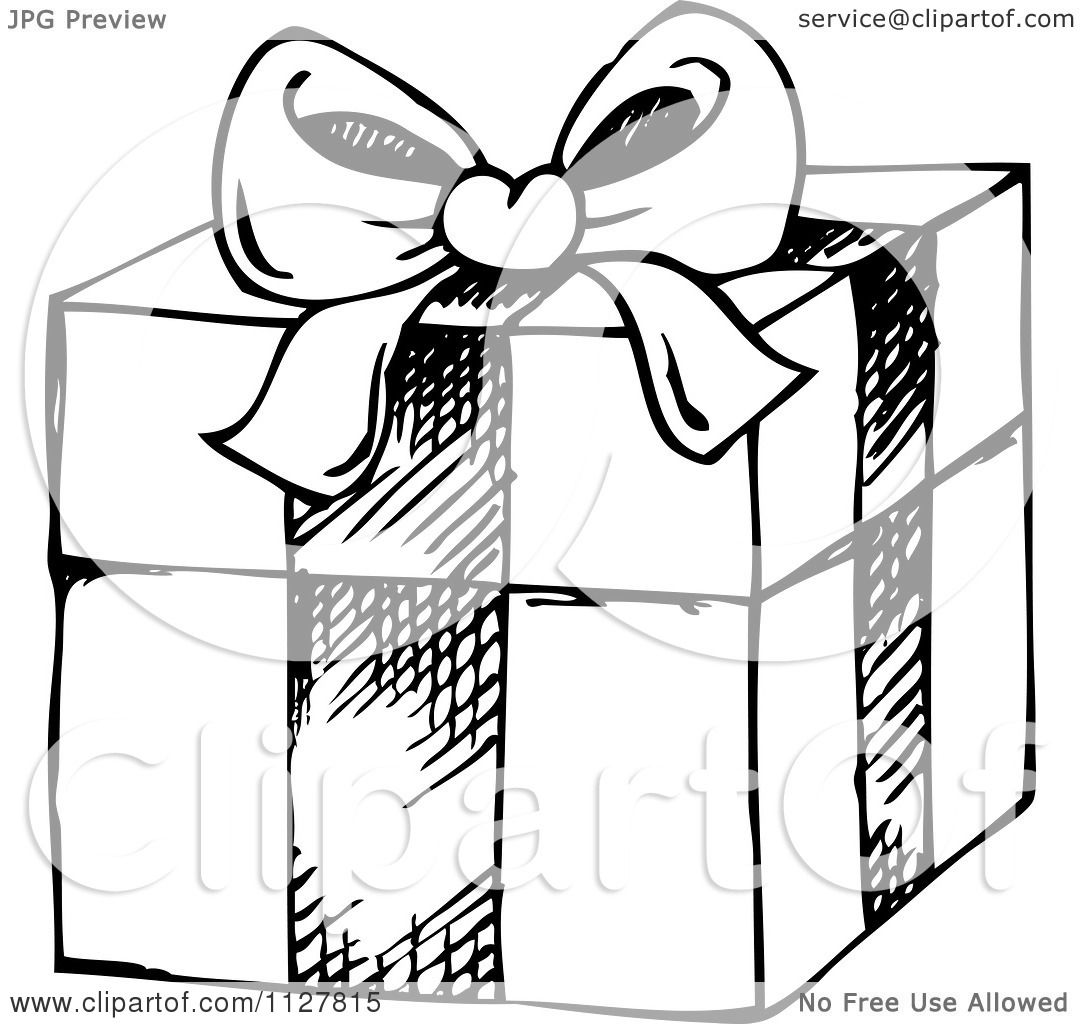 Cartoon Of A Sketched Black And White Christmas T Box