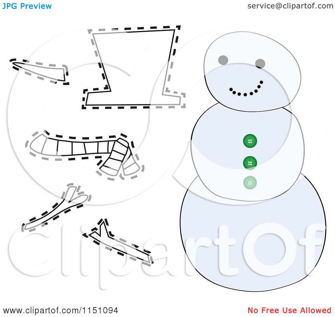 Cartoon Of A Snowman With Cutout Pieces