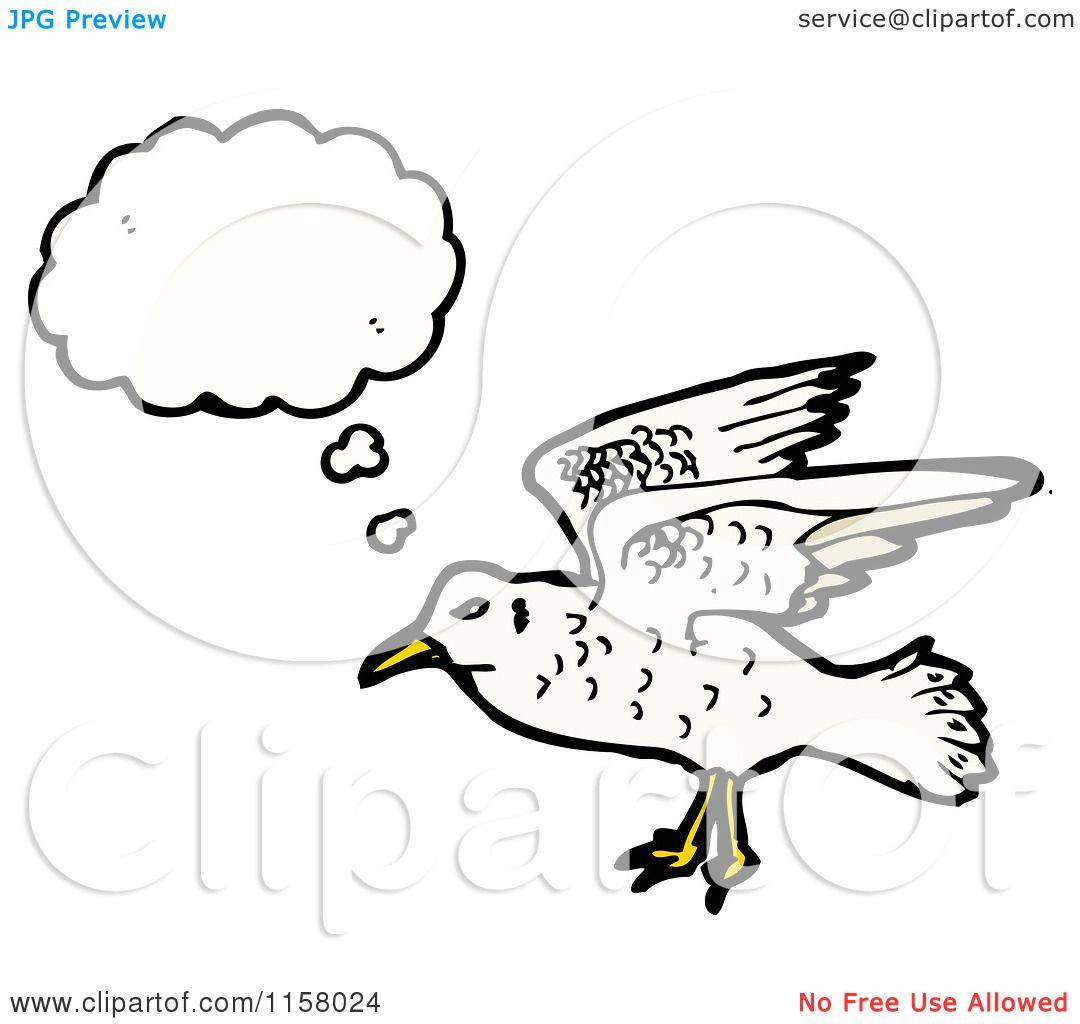 Cartoon Of A Thinking Seagull