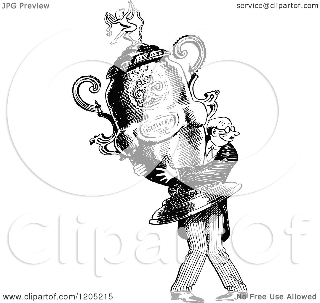 Cartoon Of A Vintage Black And White Man Carrying A Giant