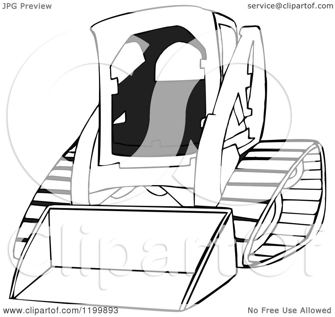 Cartoon Of An Outlined Bobcat Skid Steer Loader